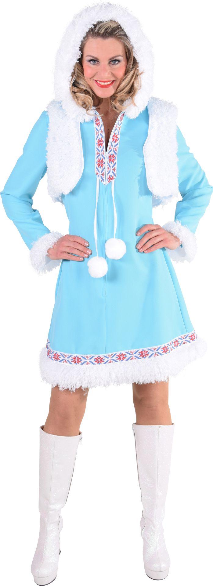 Blauwe winter jurk vrouwen