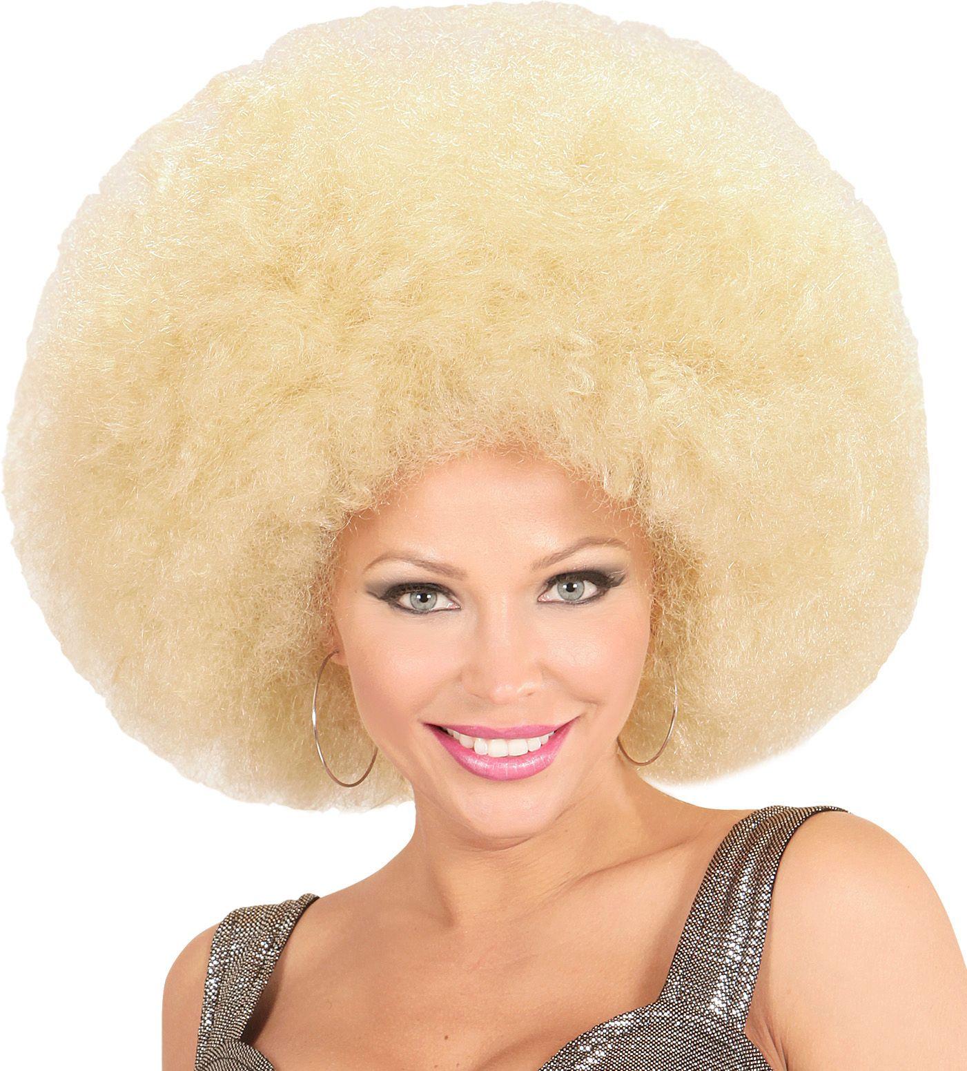Blonde afro pruik extra groot