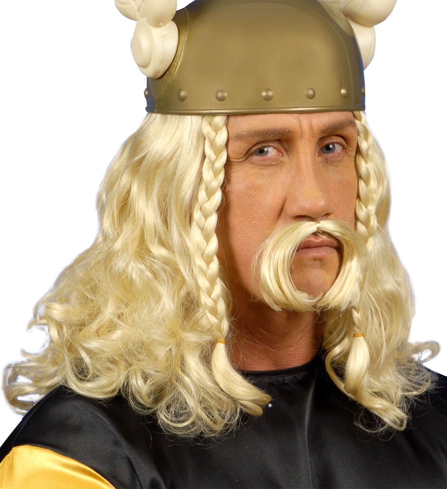 Blonde Asterix pruik met snor