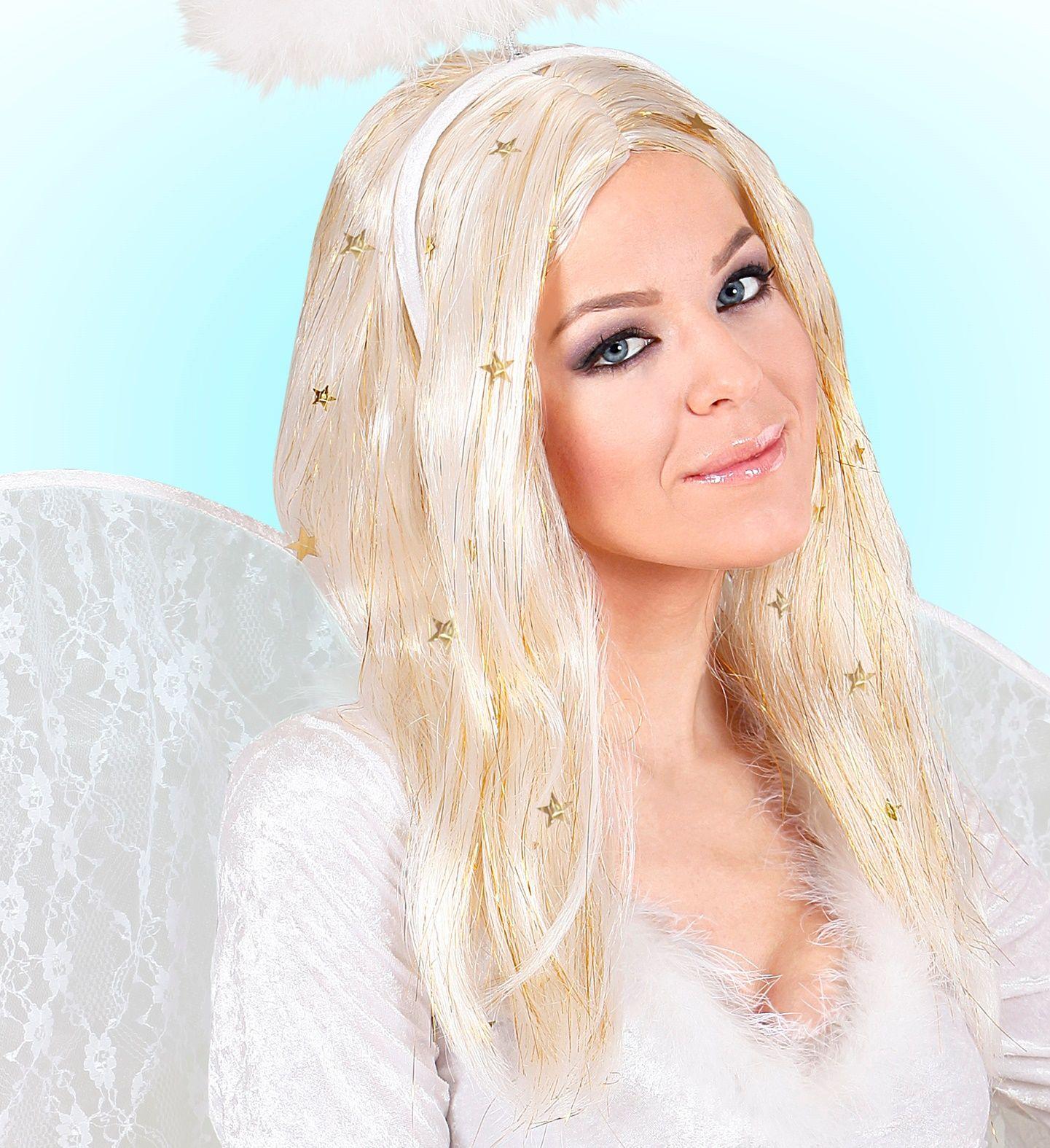 Blonde engel pruik met goudkleurige sterretjes