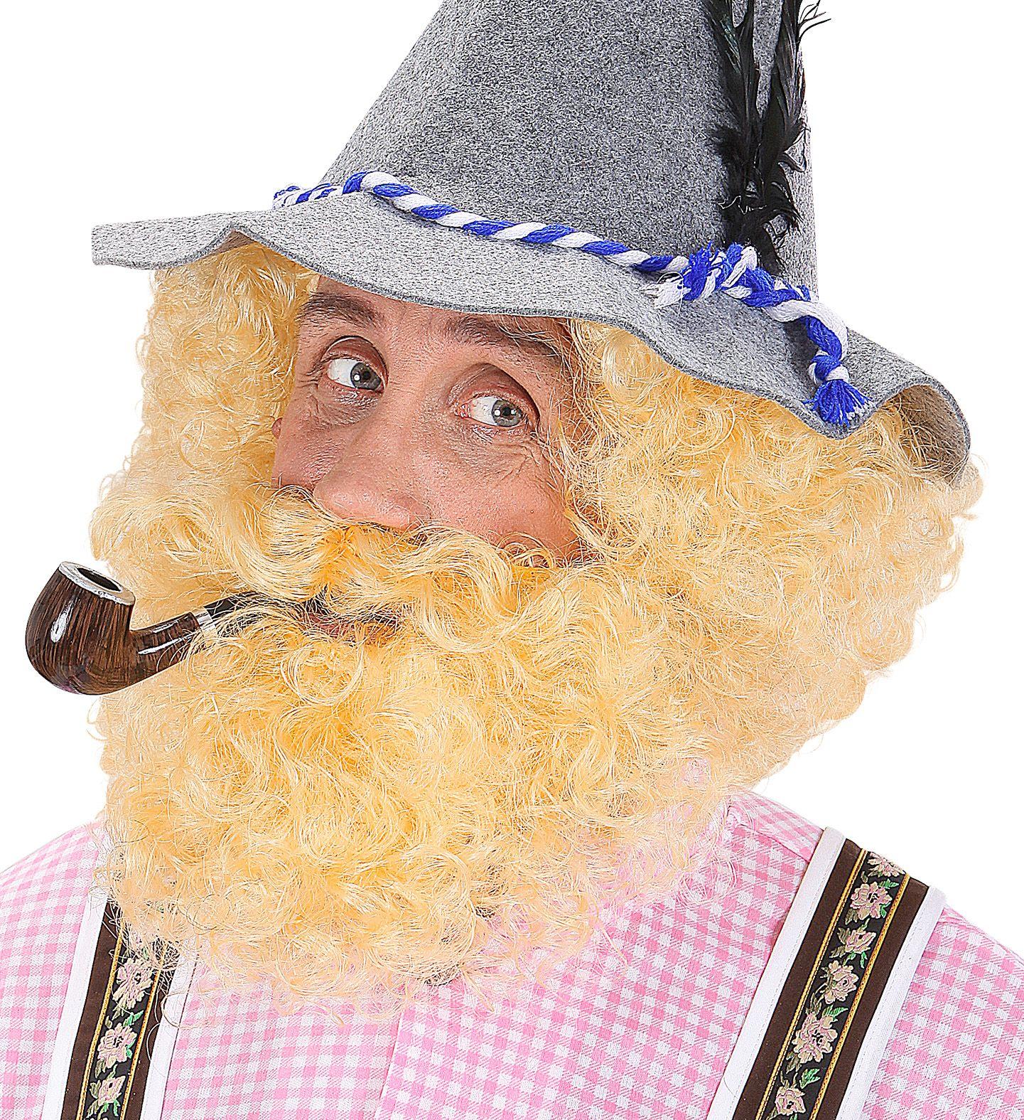 Blonde gekrulde pruik met baard