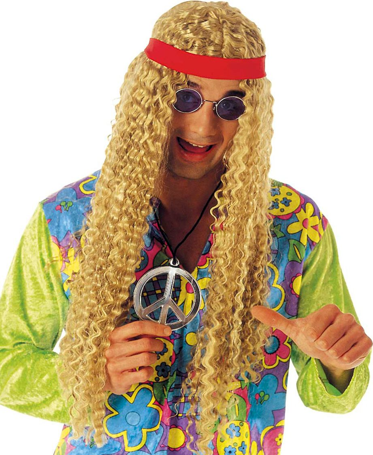Blonde hippie pruik met rode hoofdband