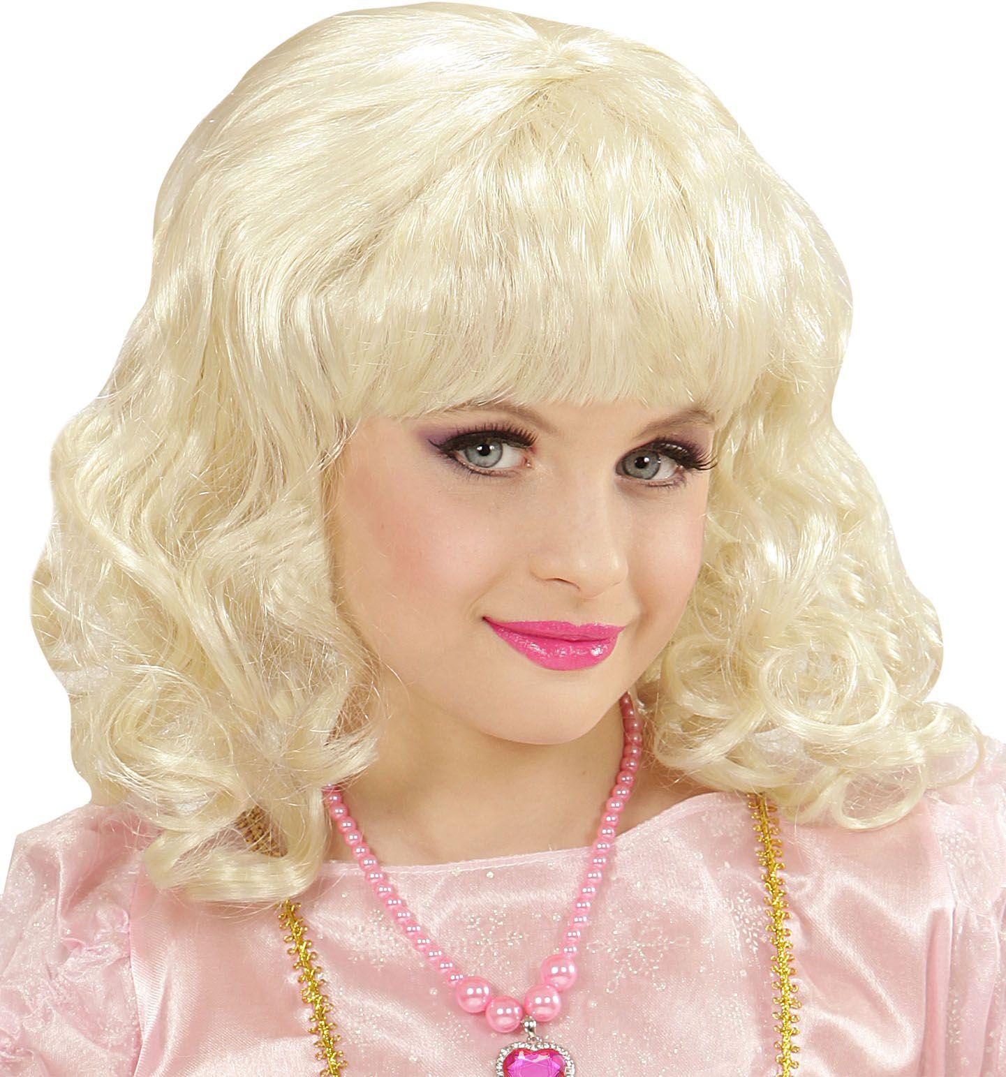 Blonde prinsessen pruik kind