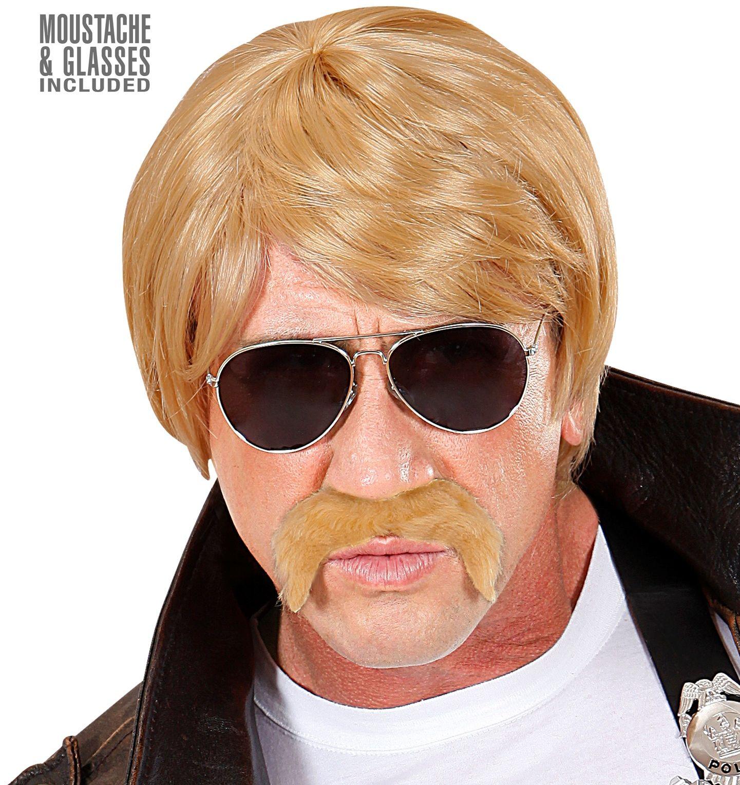 Blonde pruik met bril en snor