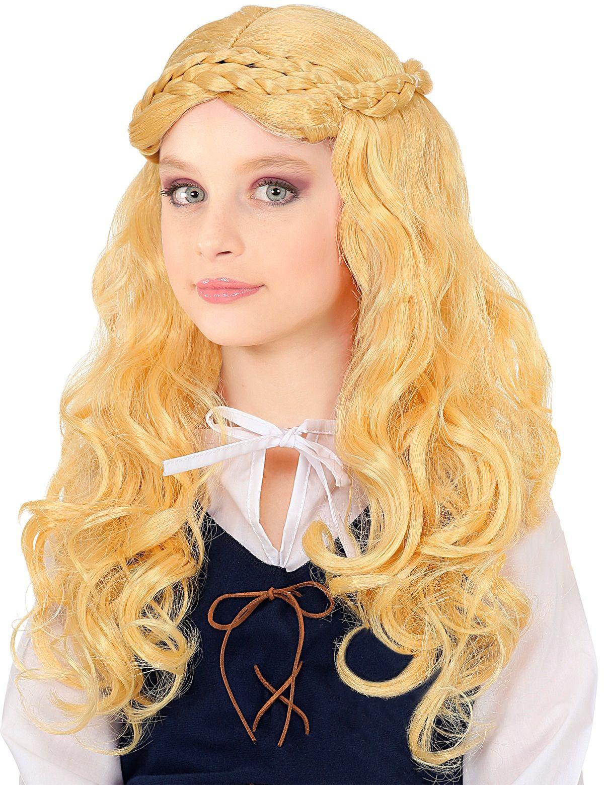 Blonde pruik middeleeuwen meisje