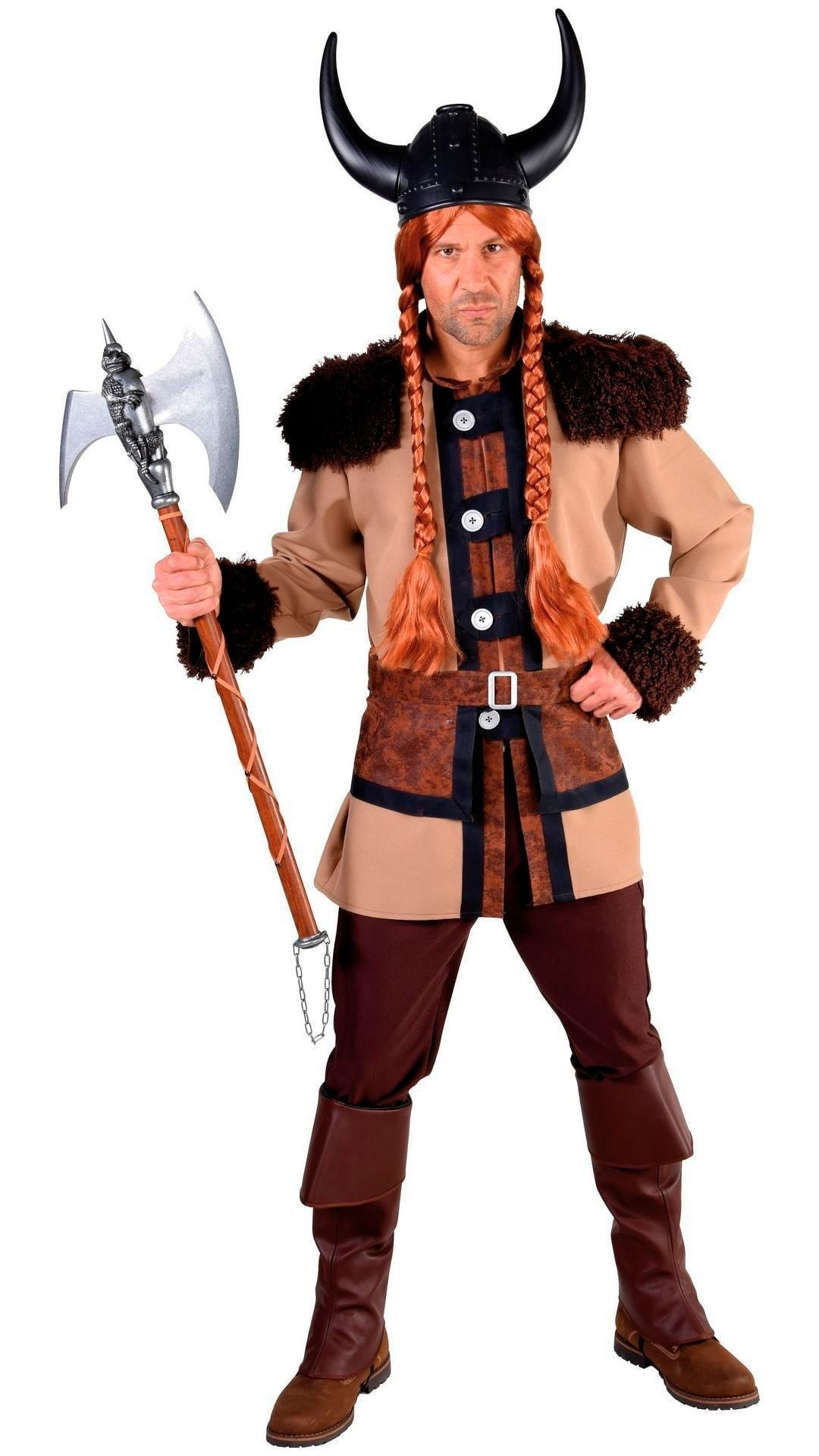 Bruin viking mannen outfit