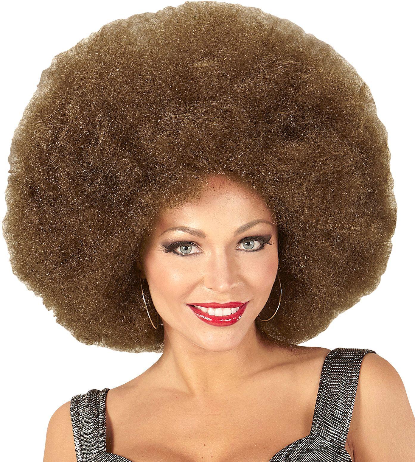 Bruine afro pruik extra groot