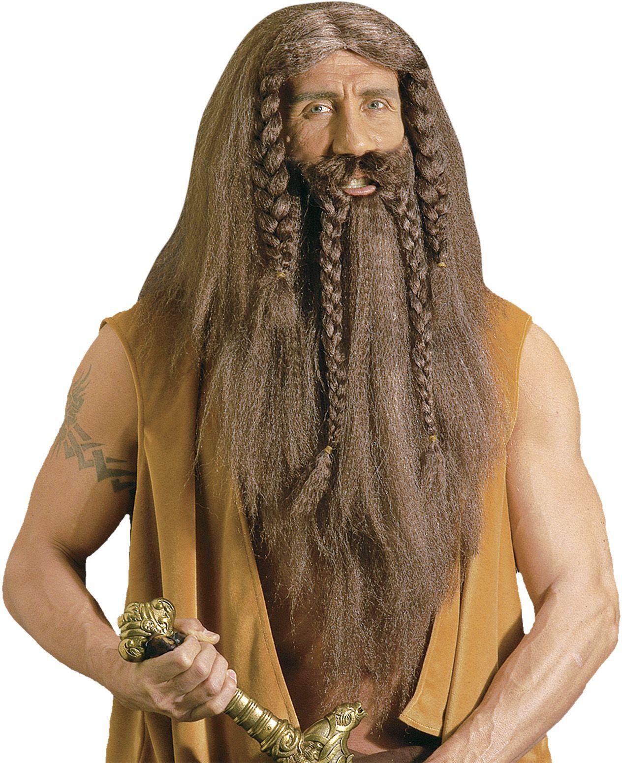 Bruine barbaar pruik met baard en snor