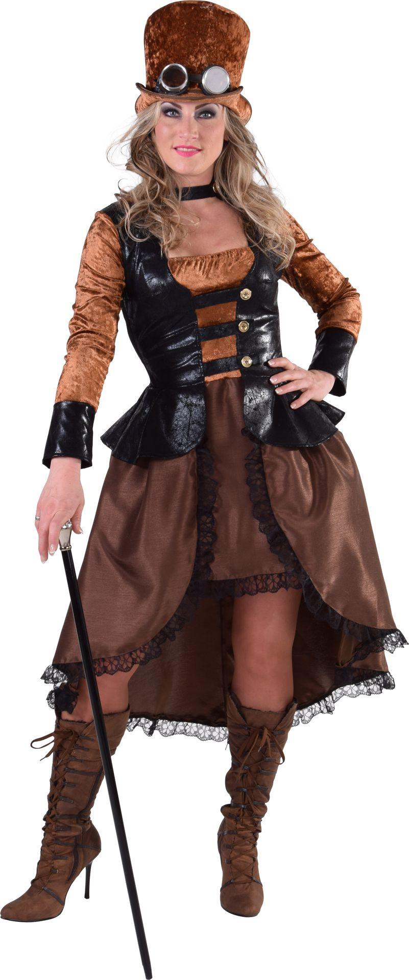 Bruine dames steampunk jurk