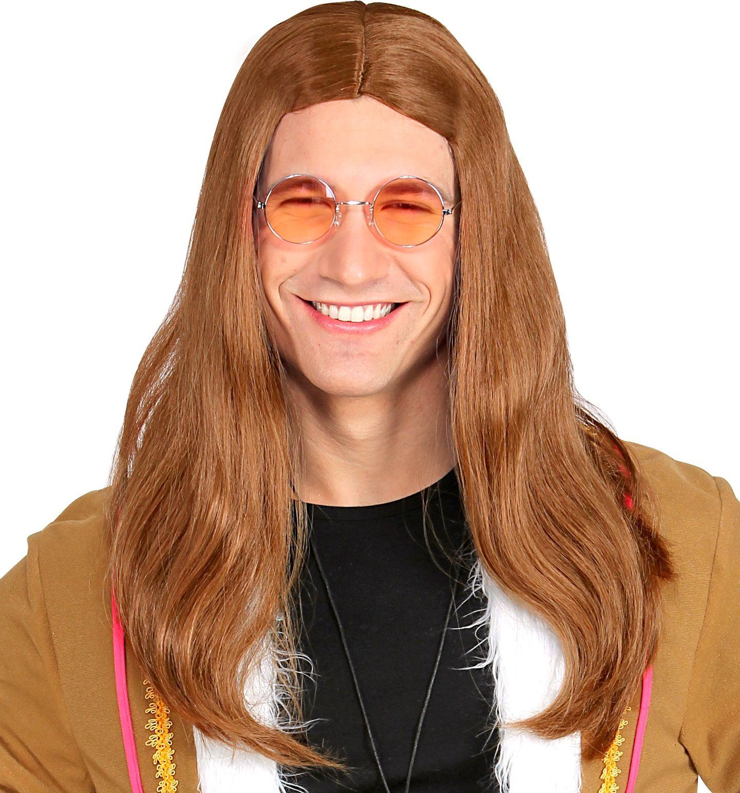 Bruine heren hippie pruik