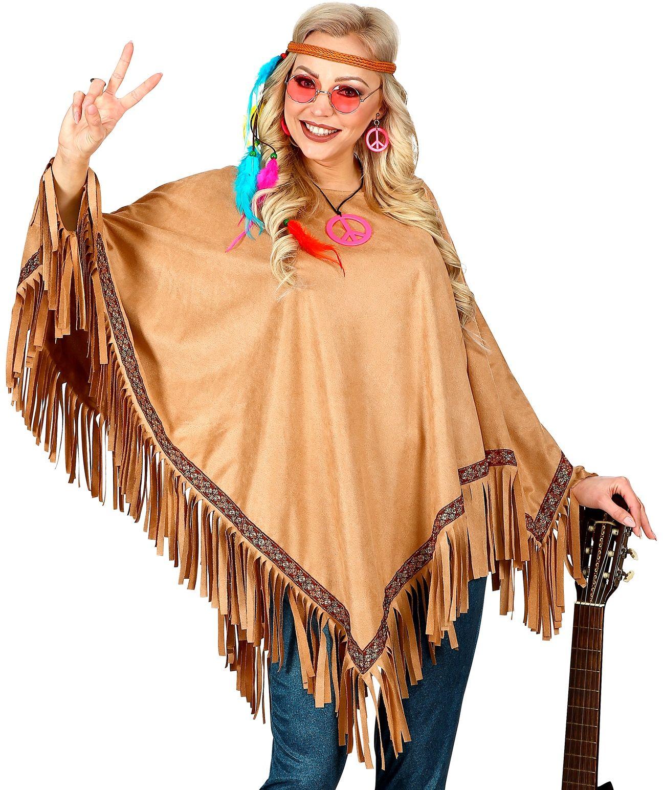 Bruine hippie poncho