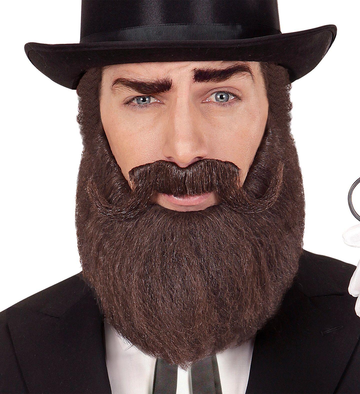 Bruine historische baard en snor