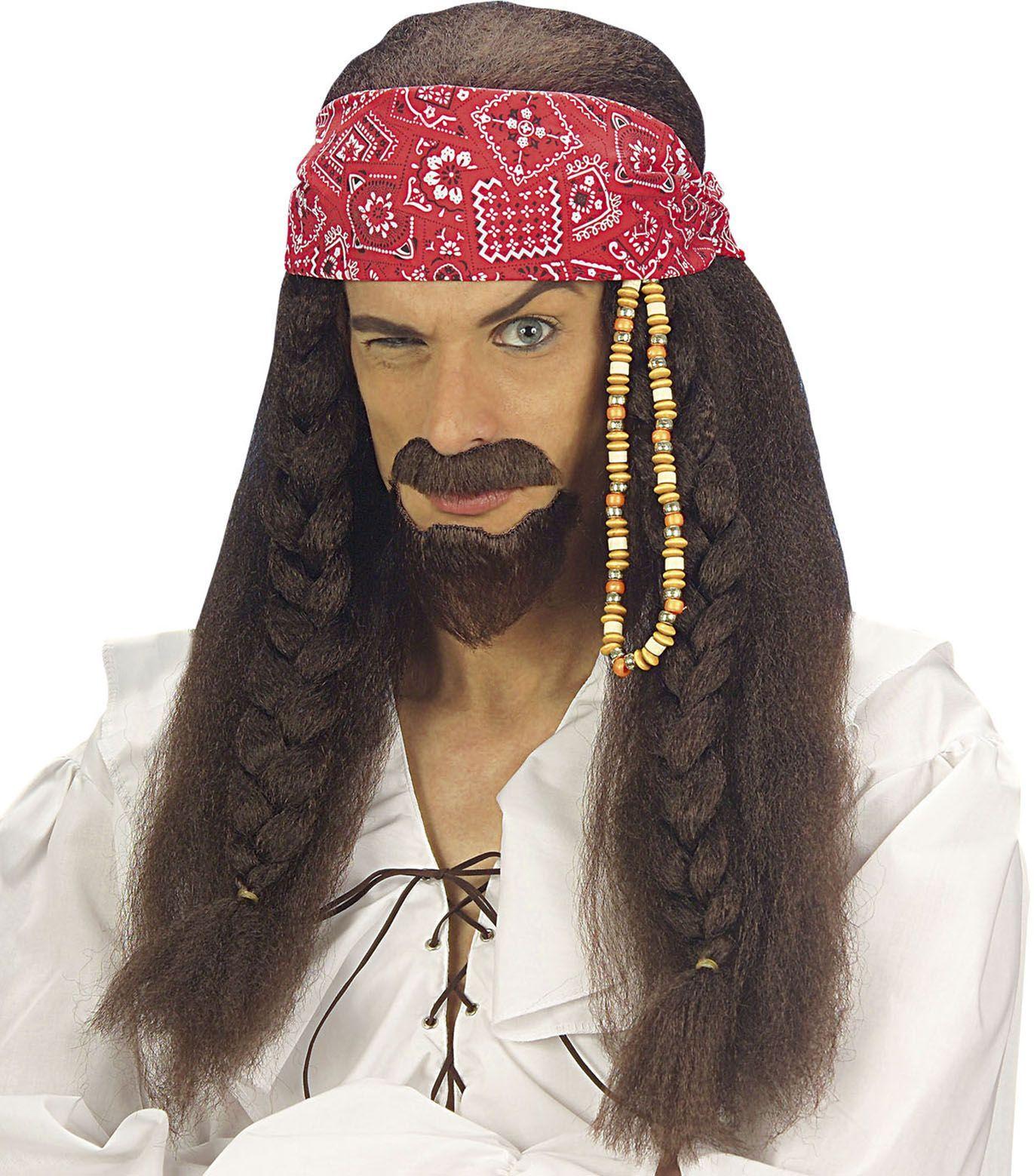 Bruine piraten pruik
