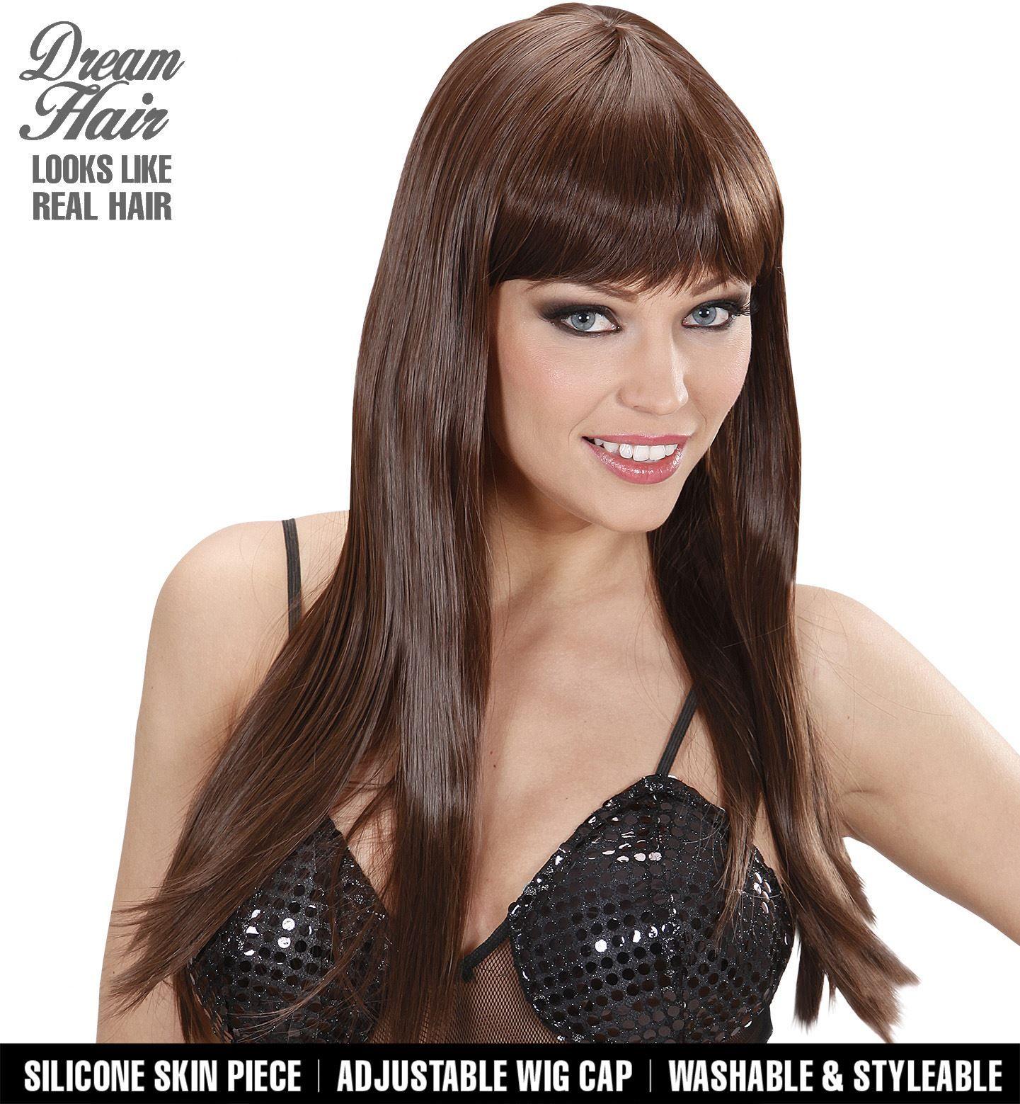 Bruine pruik lange haren