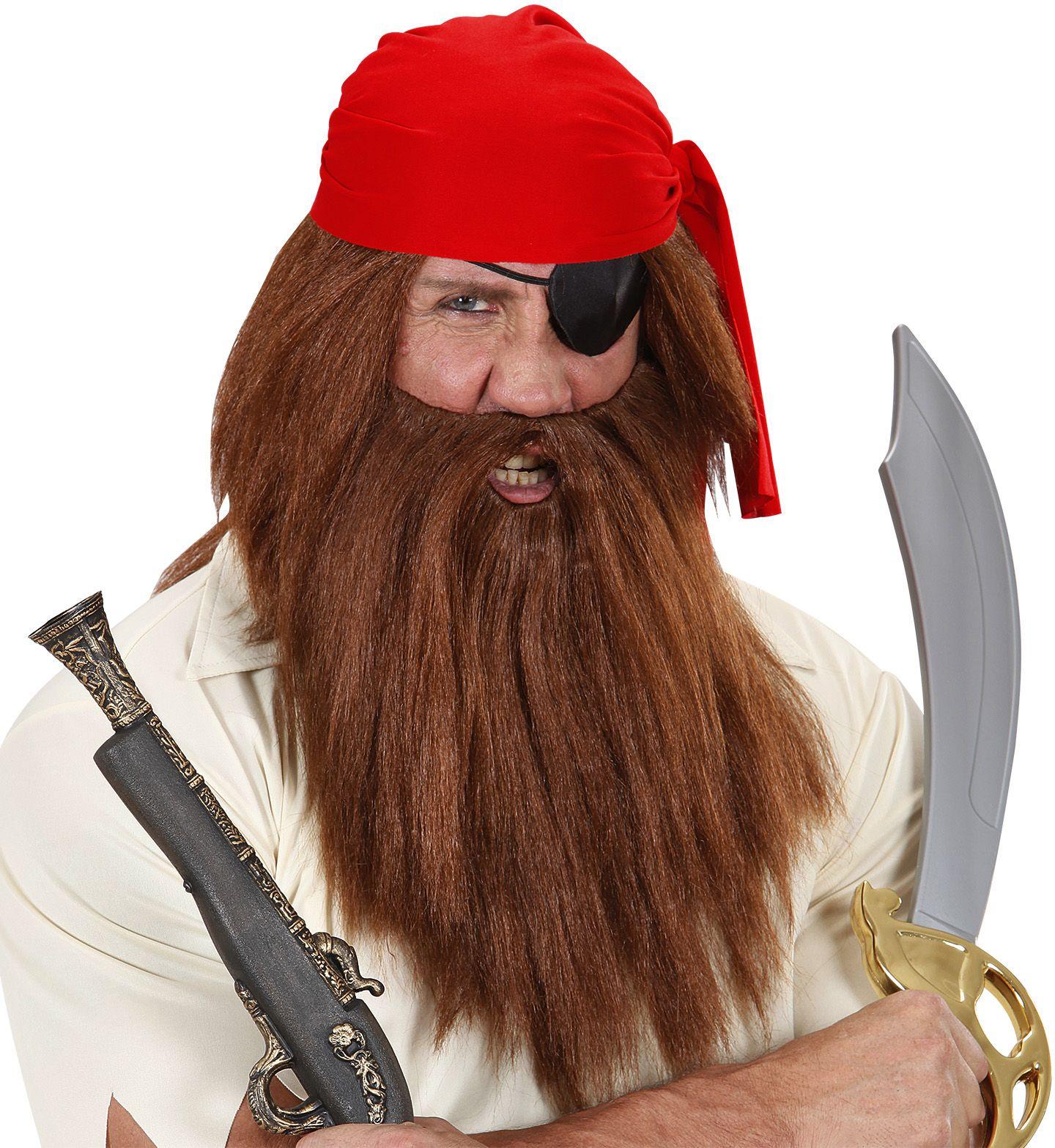 Bruine pruik met baard