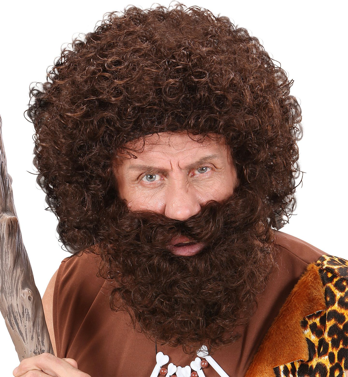 Bruine pruik met snor en baard