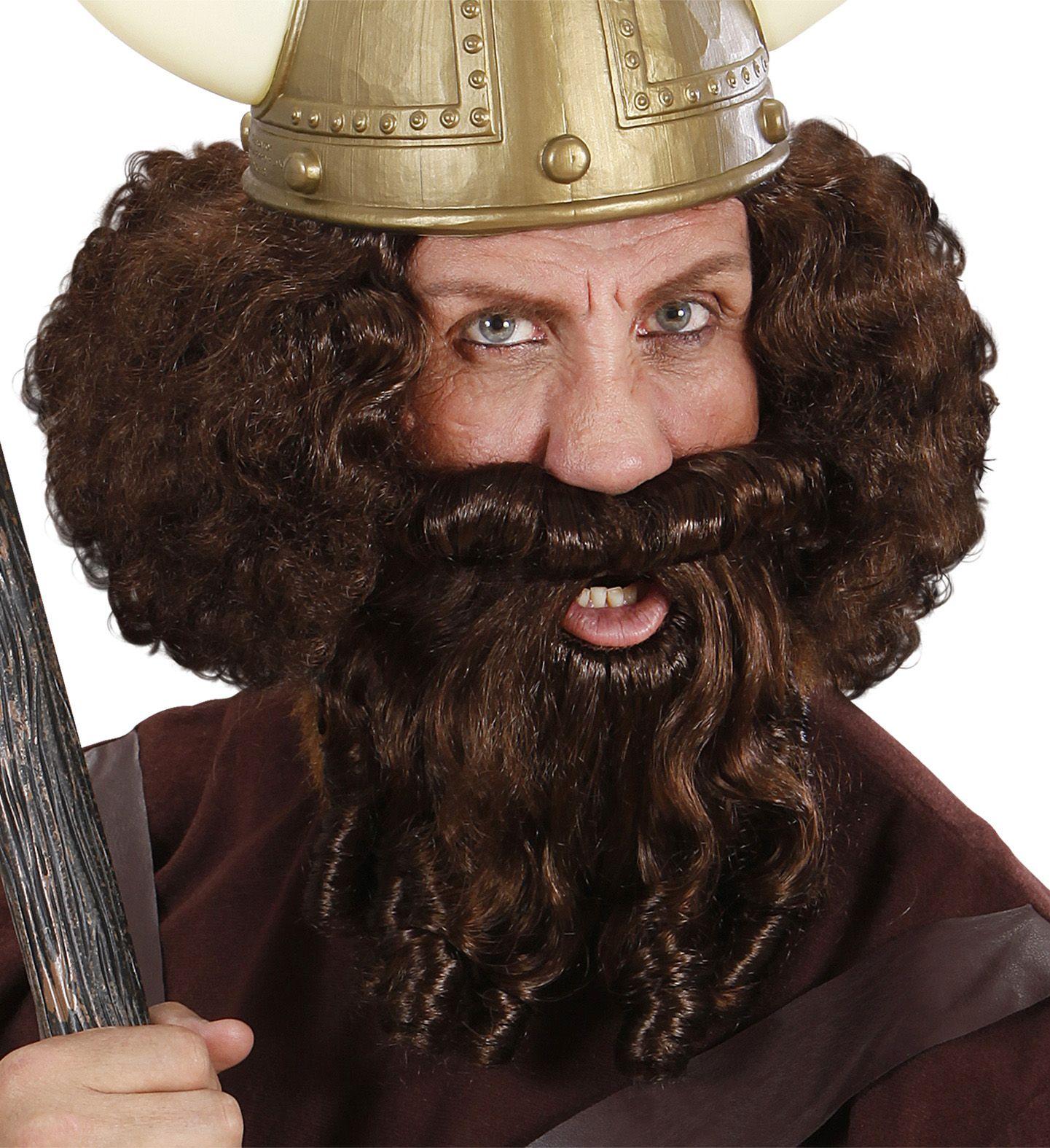 Bruine viking pruik met baard