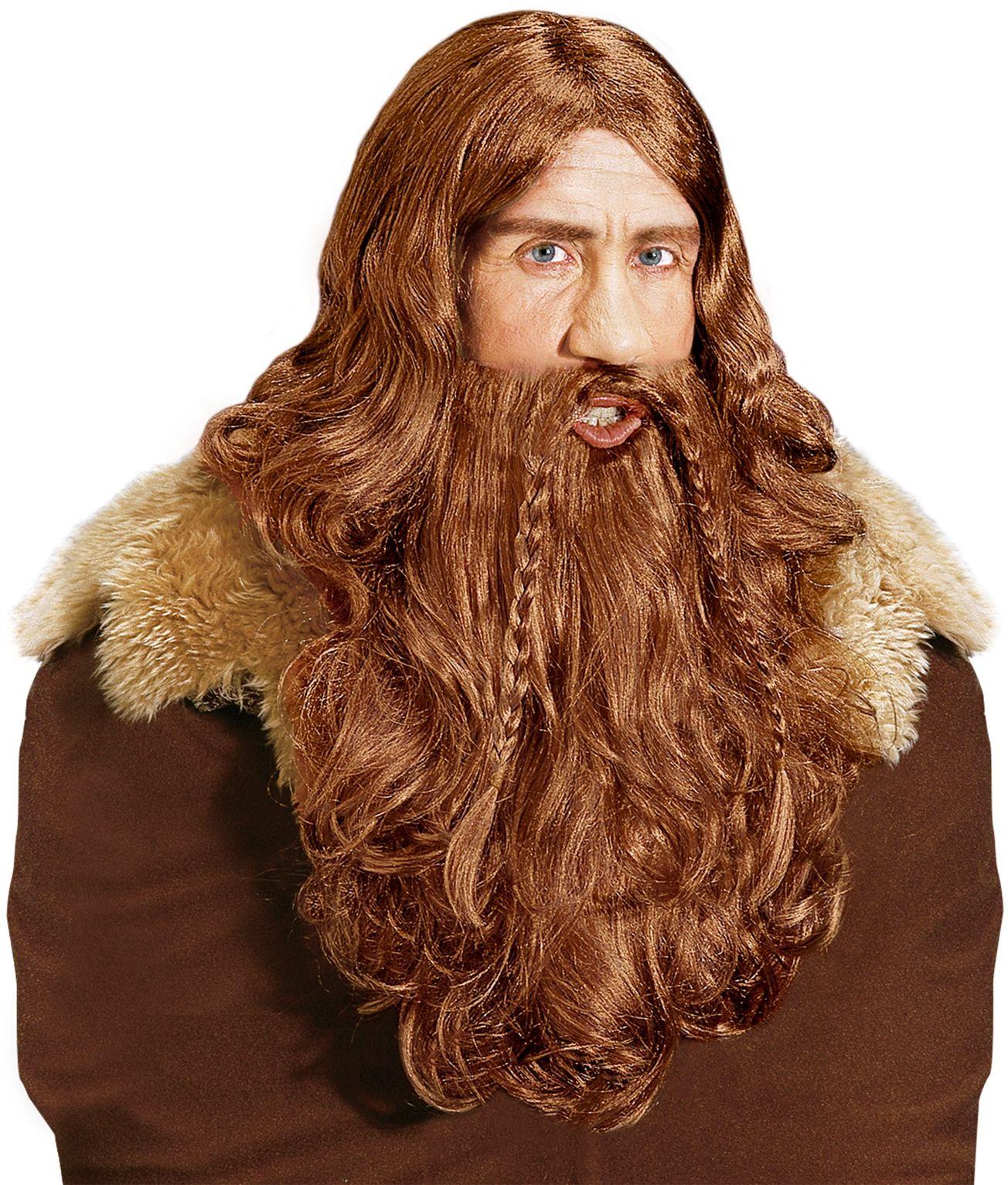 Bruine viking pruik met baard en snor