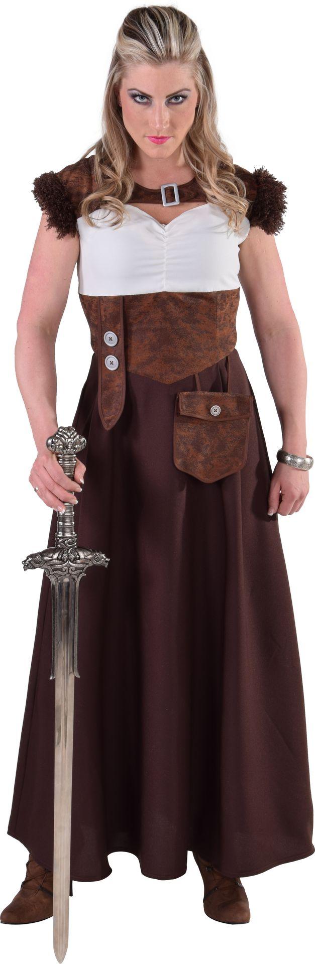 Bruine vikingen jurk vrouwen