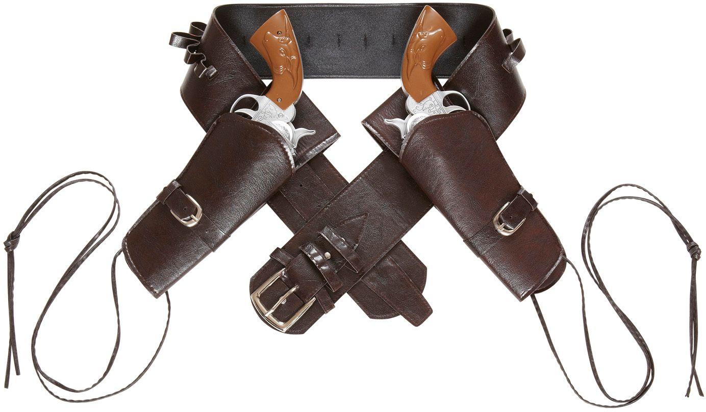 Bruine western riem met dubbele holster