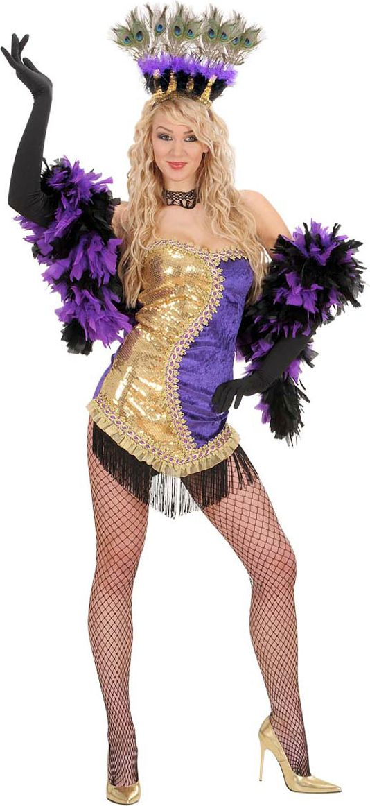 Burlesque outfit paars/goud