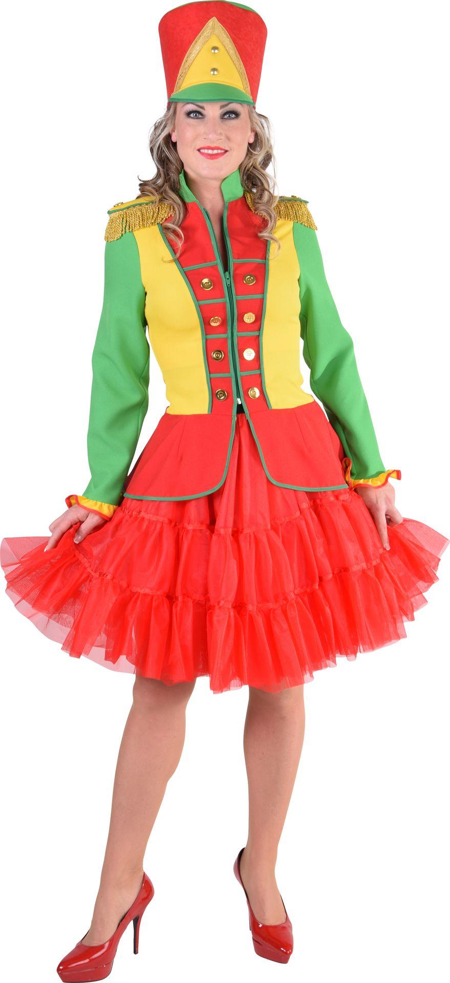 Carnavals jas groen geel rood vrouwen