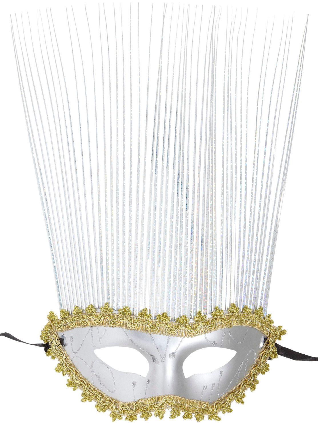 Carnival oogmasker met kuif zilver