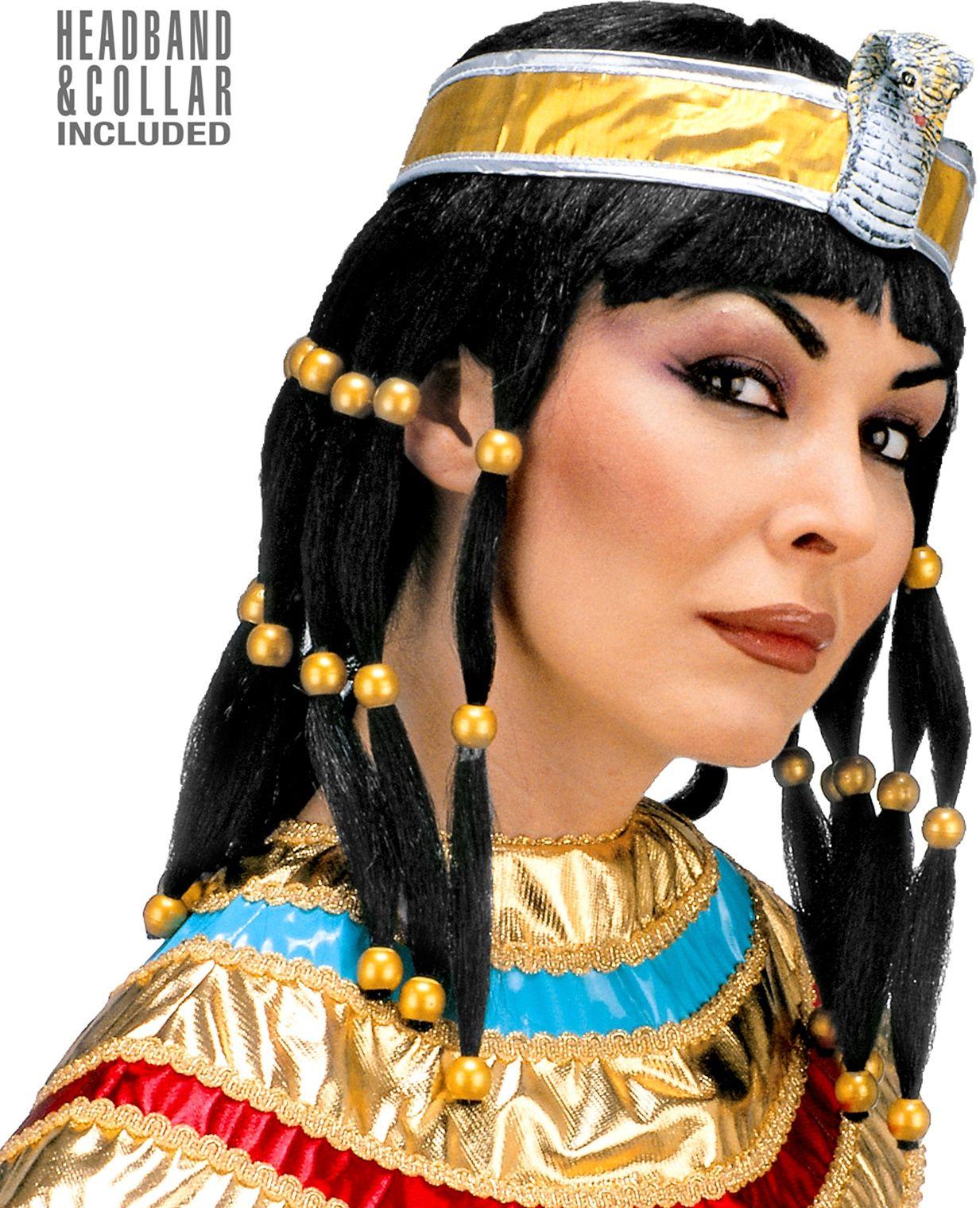 Cleopatra pruik met kraag en hoofdband