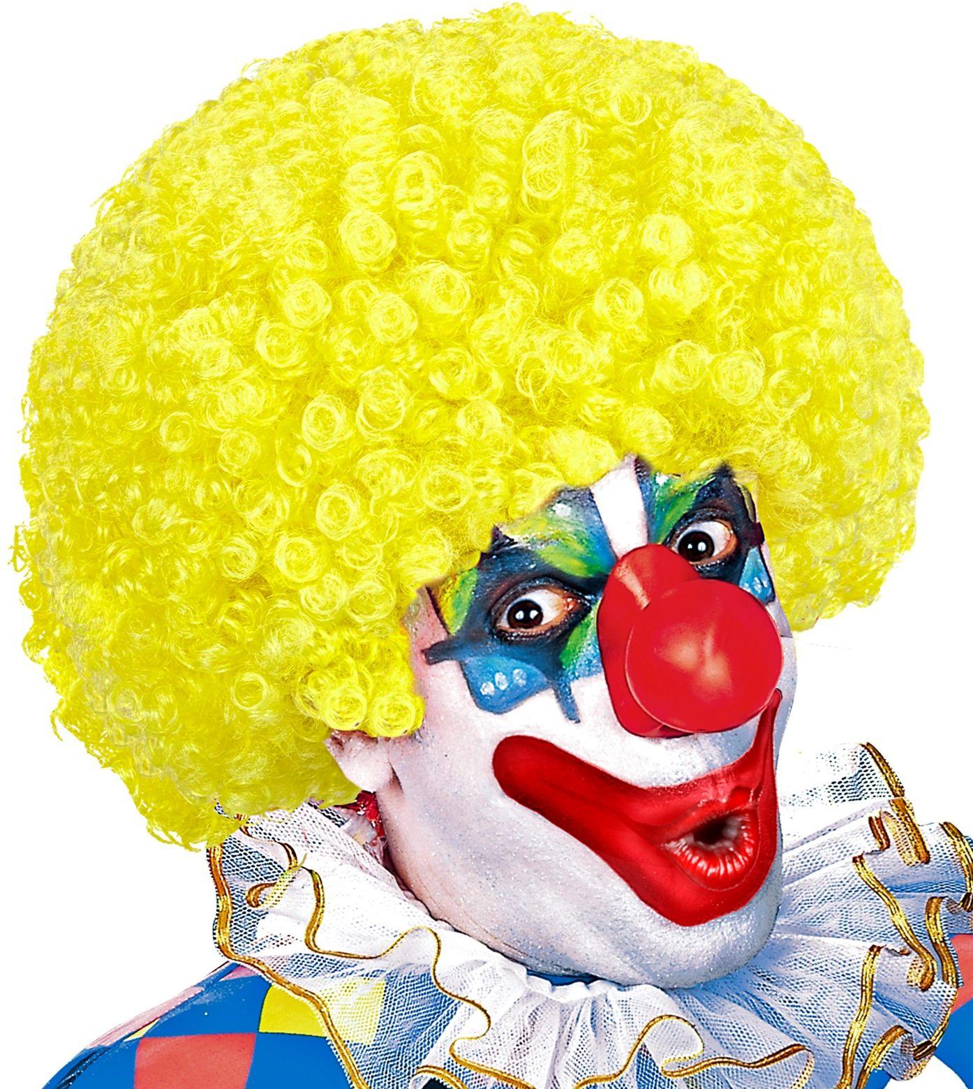 Clown pruik geel