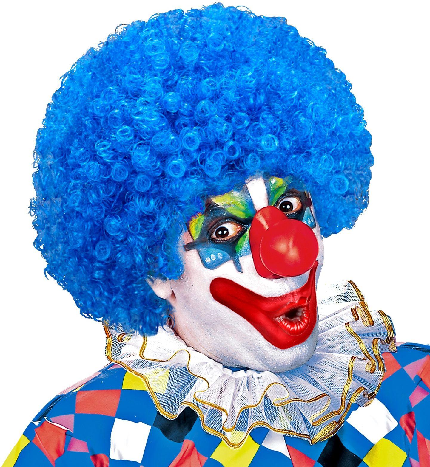 Clown pruik licht blauw