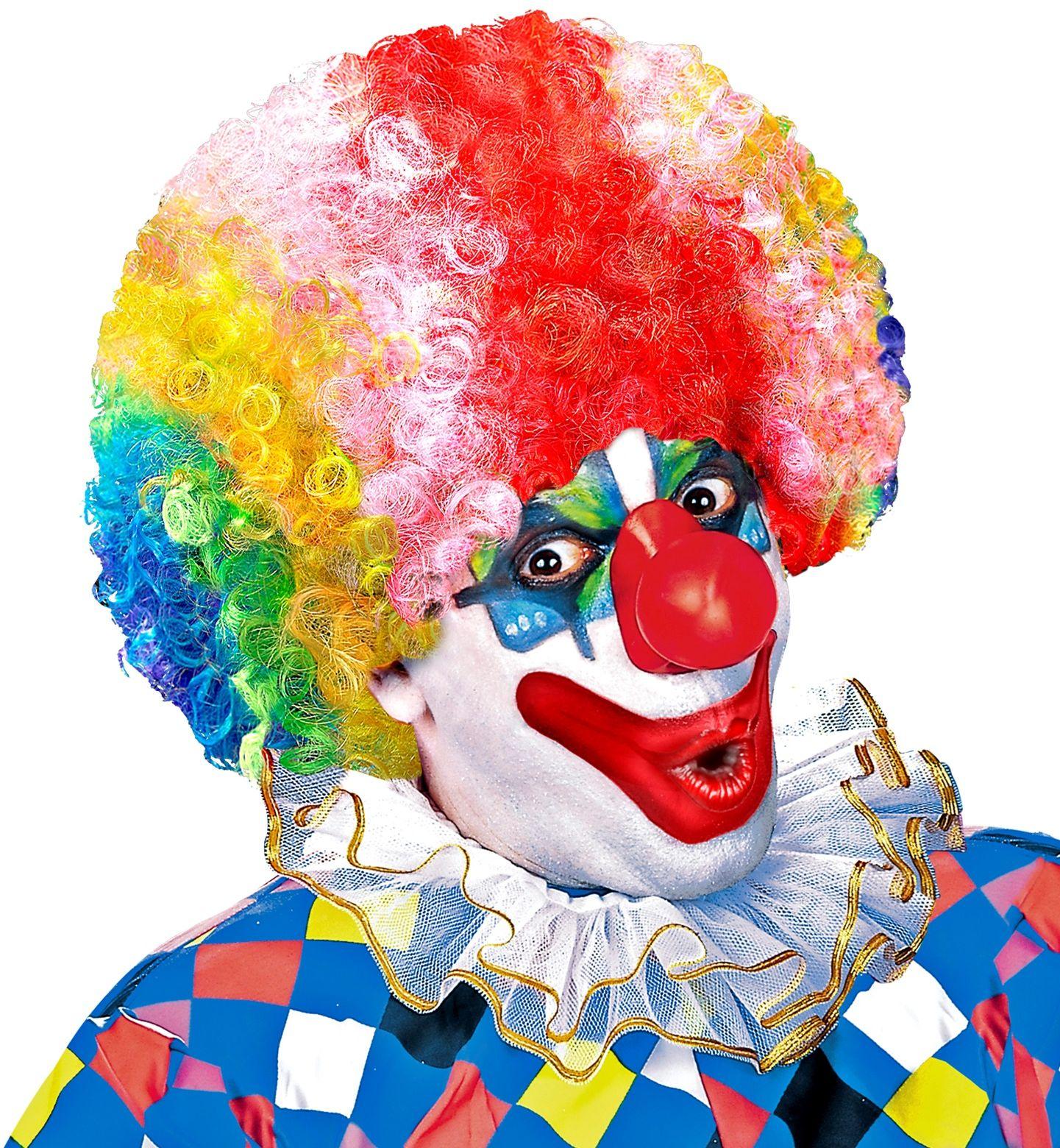 Clown pruik met krullen meerkleurig