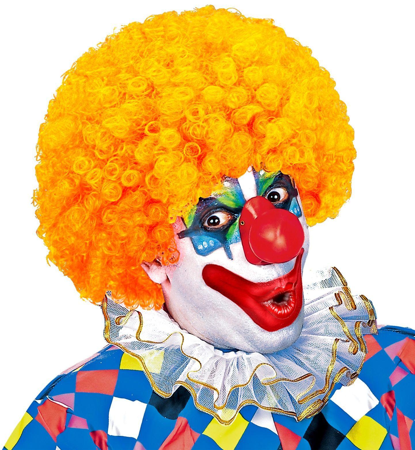 Clown pruik oranje