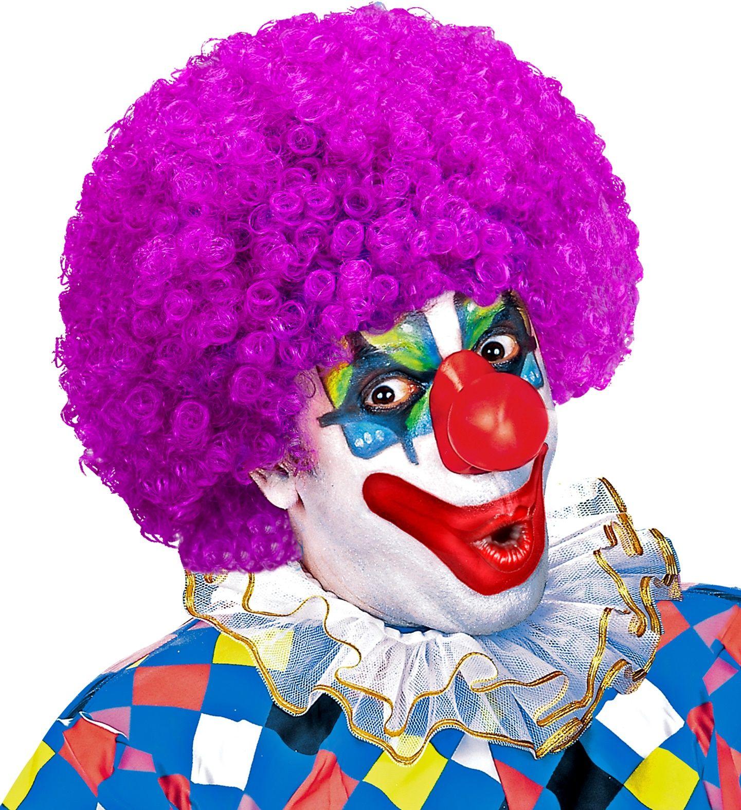 Clown pruik paars