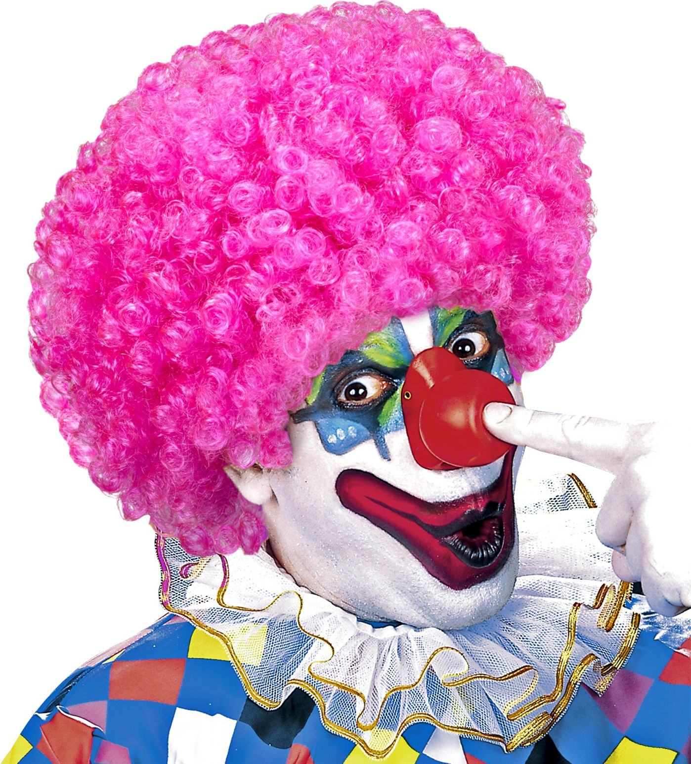 Clown pruik roze