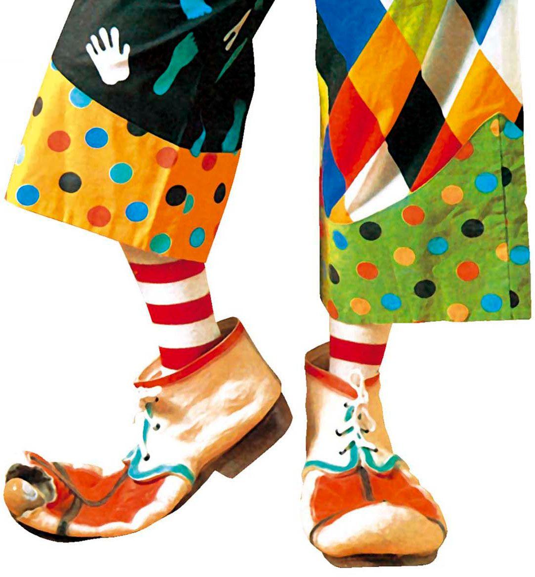 Clown schoenen wit rood