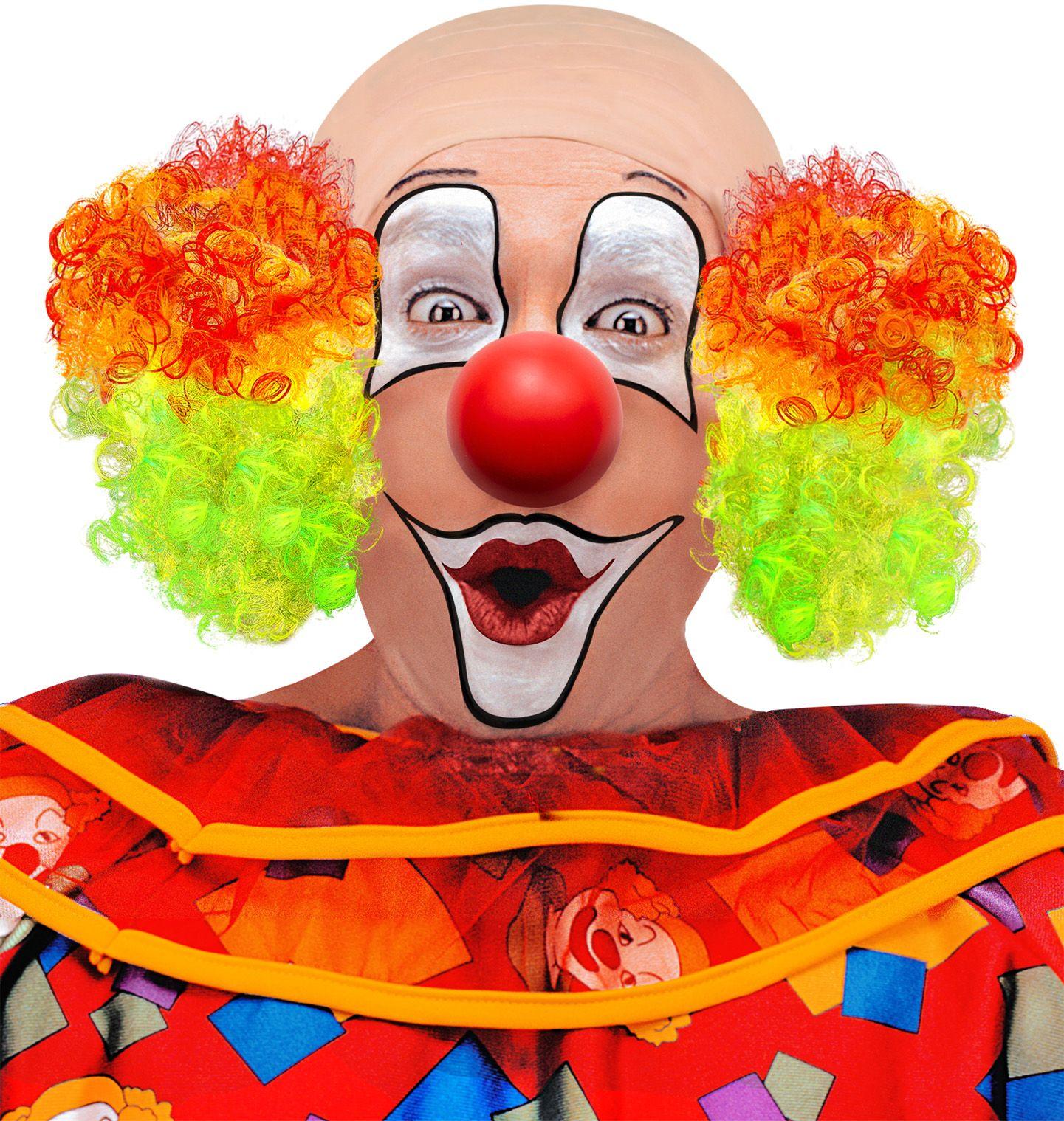 Clowns pruik met kaal hoofd