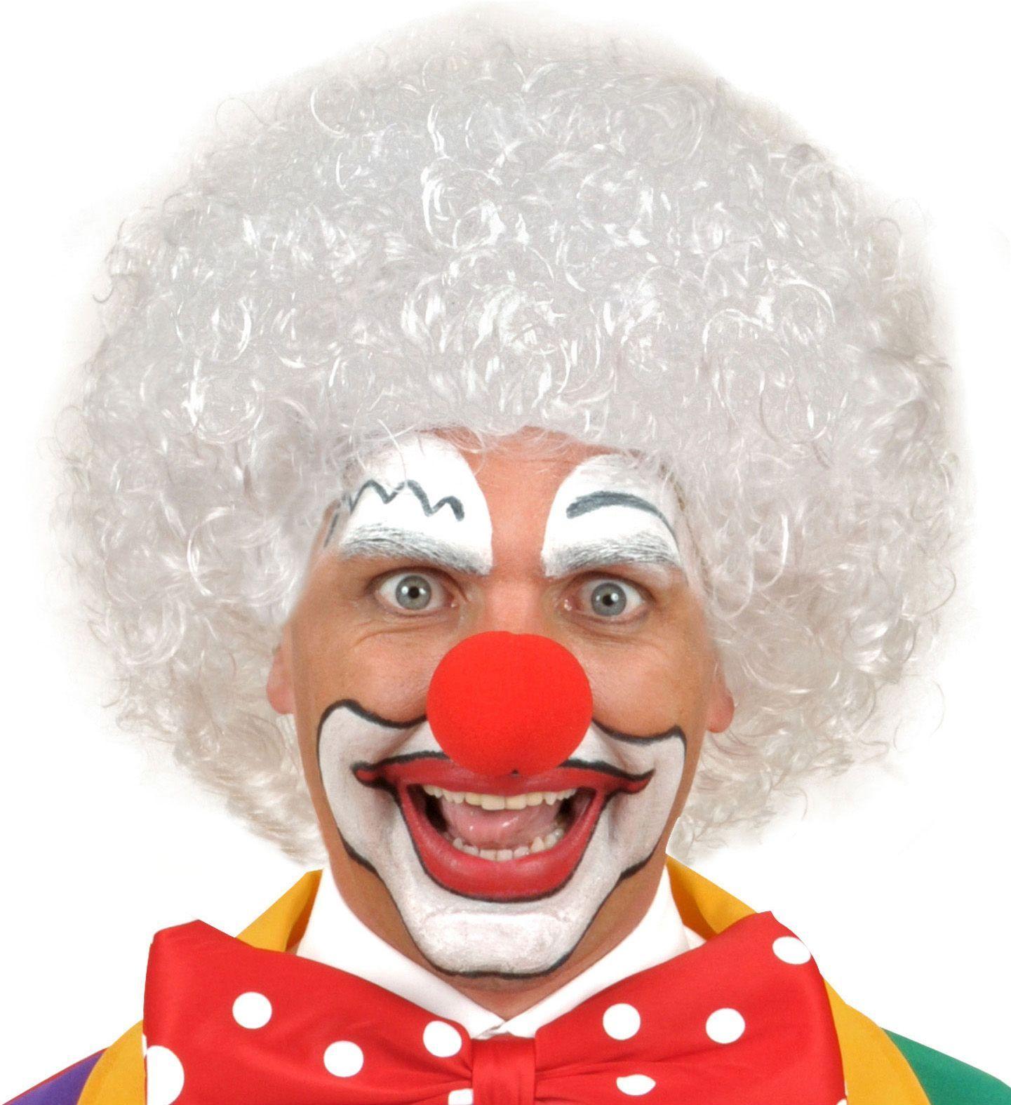 Clowns pruik wit