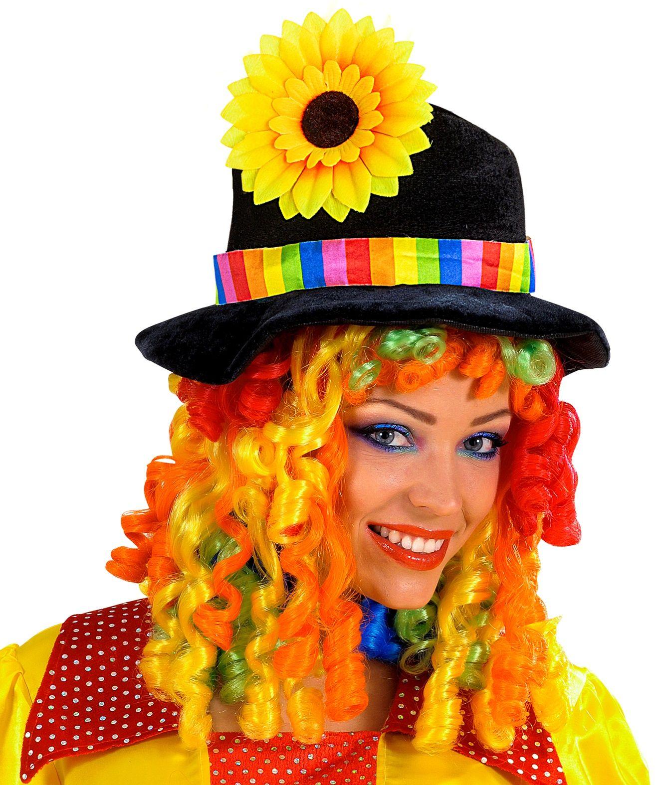 Clownshoed met zonnebloem en pruik