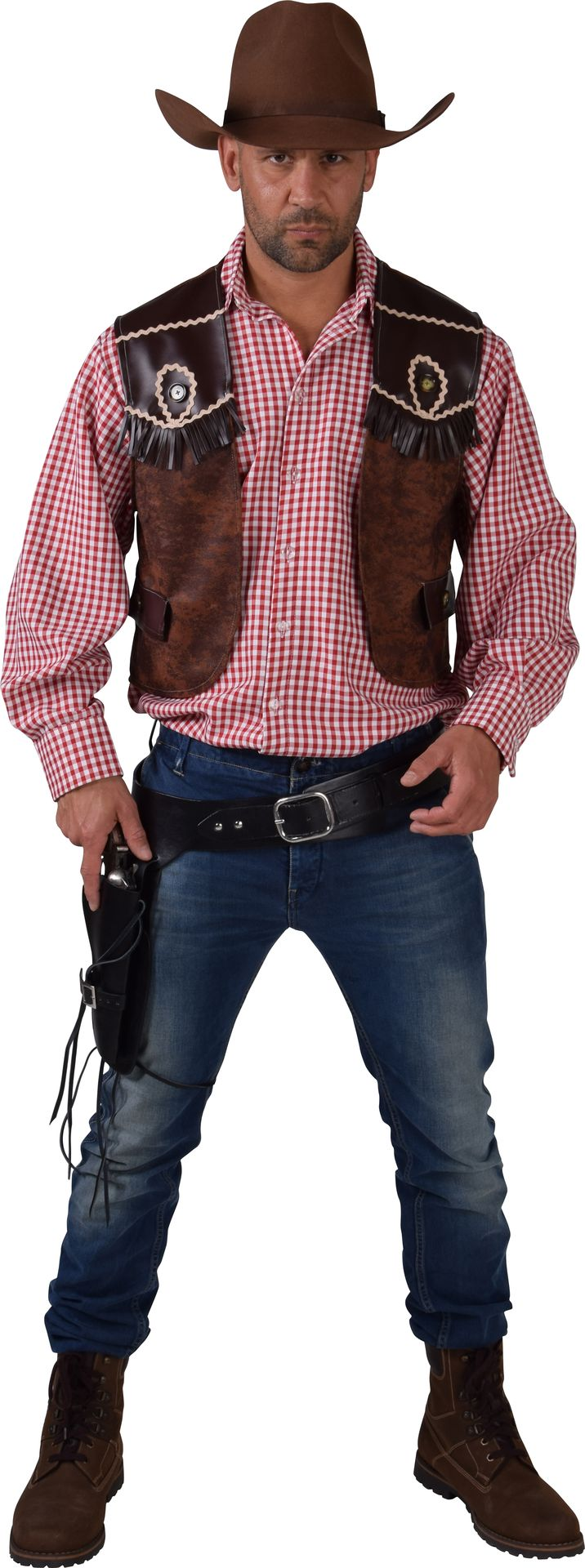 Cowboy vest bruin heren