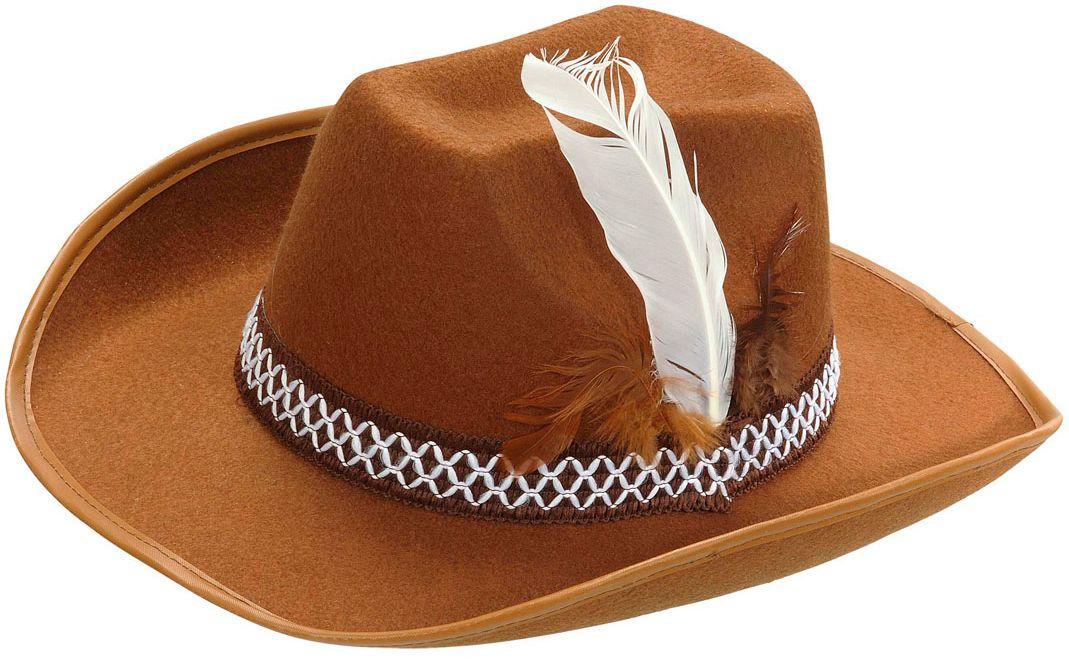 Cowboyhoed met veer bruin kind