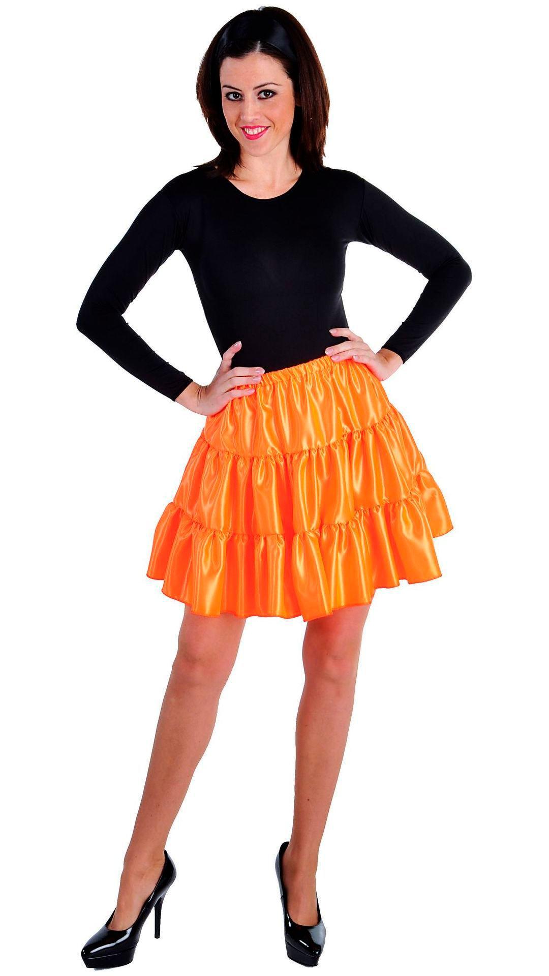 Dames volangen rok oranje