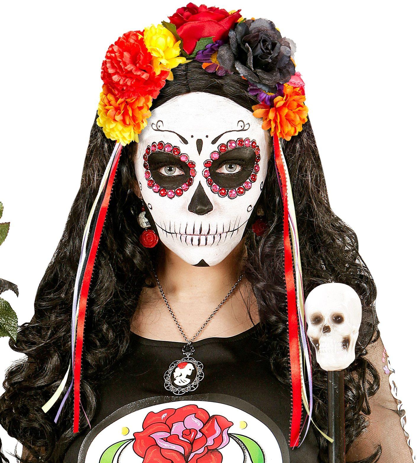 Day of the dead bloemen haarband