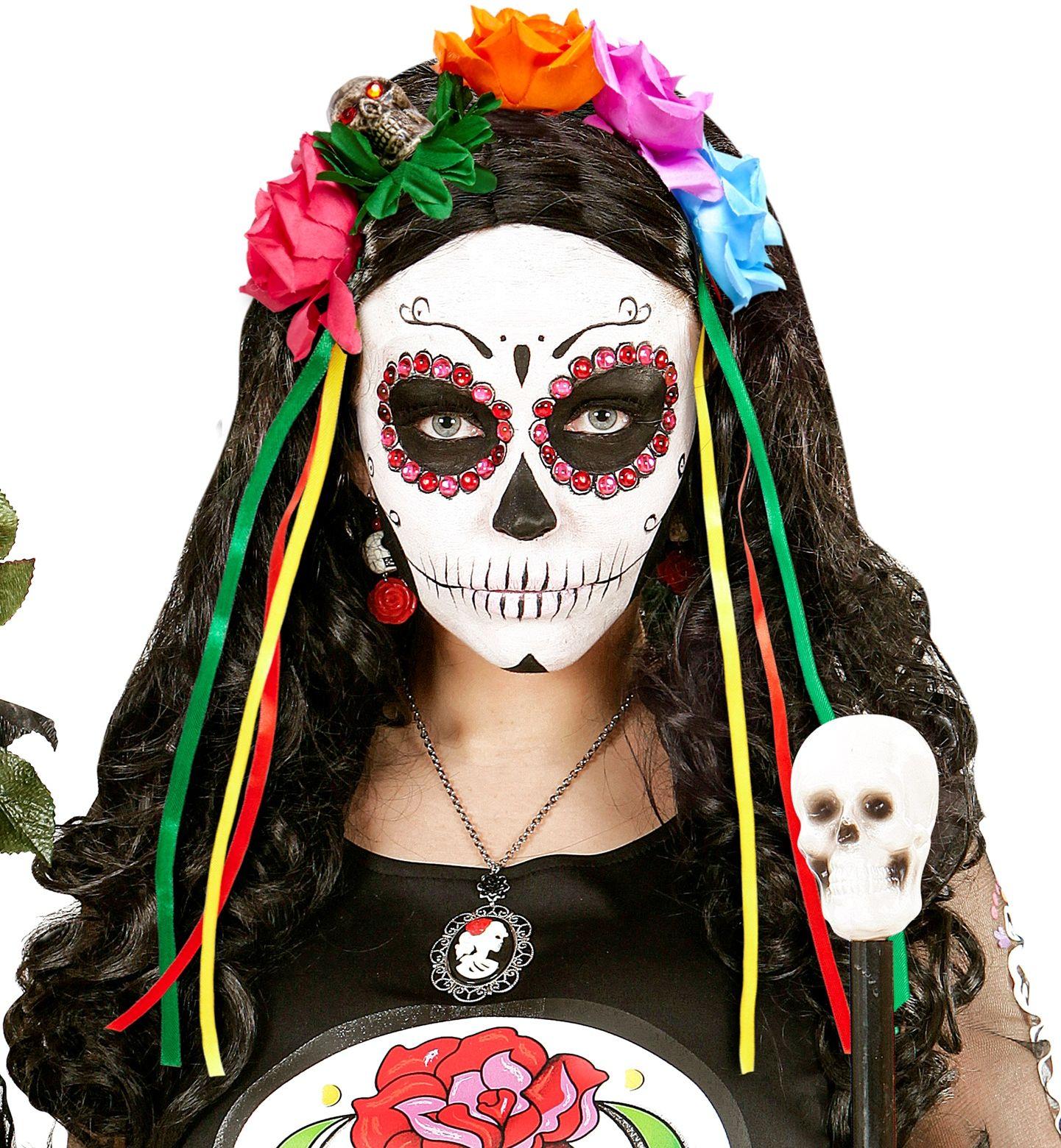 Day of the dead haarband met bloemen