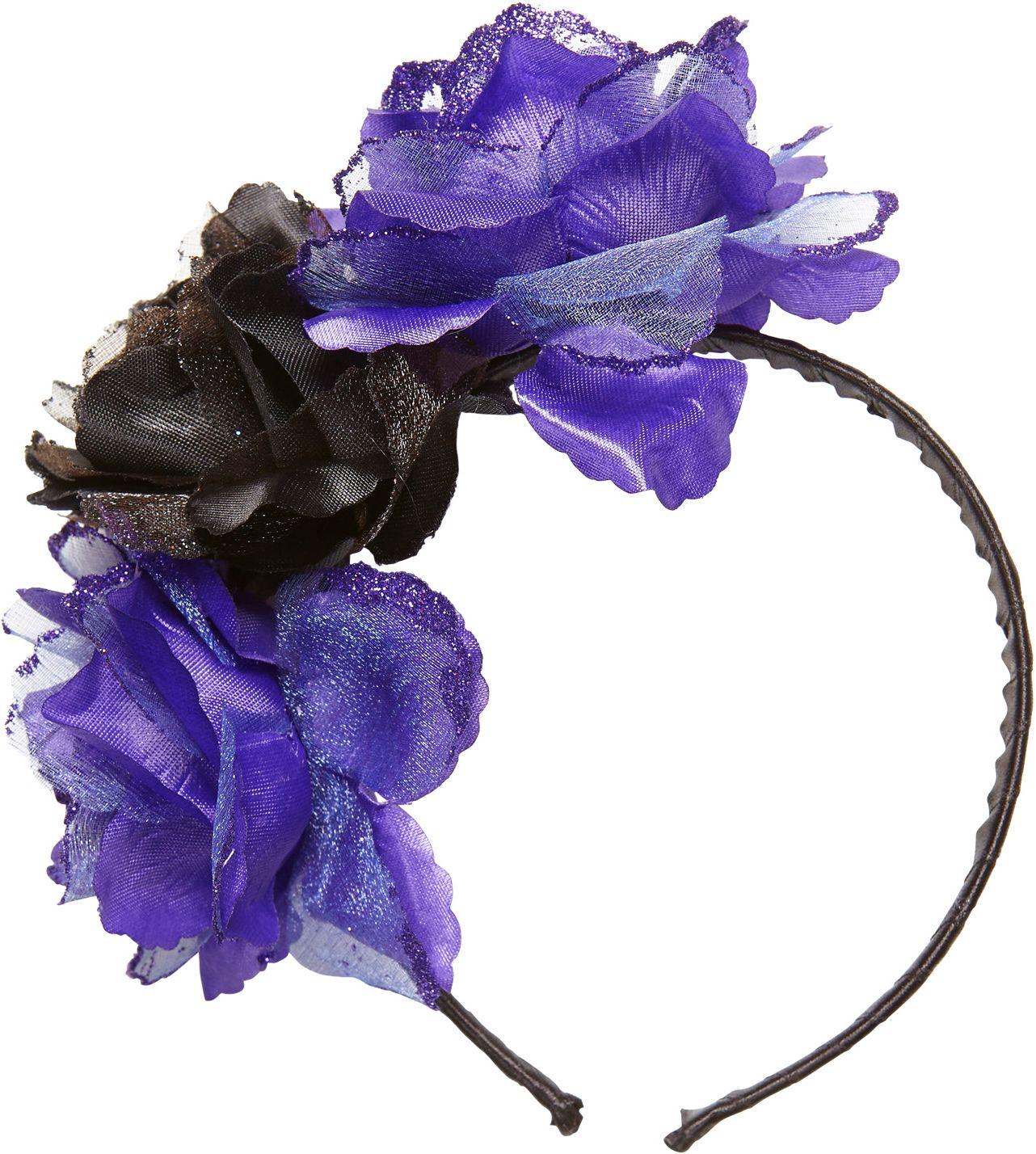 Day of the dead hoofdband met paars-zwarte rozen