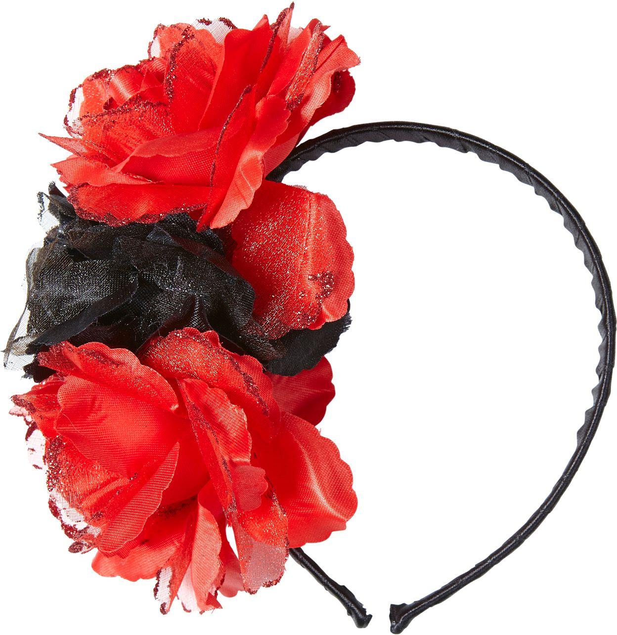 Day of the dead hoofdband met rood-zwarte rozen