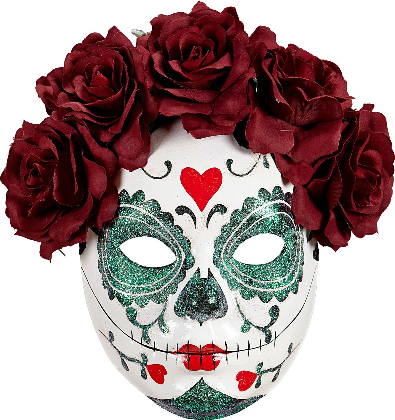 Day of the dead masker met bordeauxrode rozen