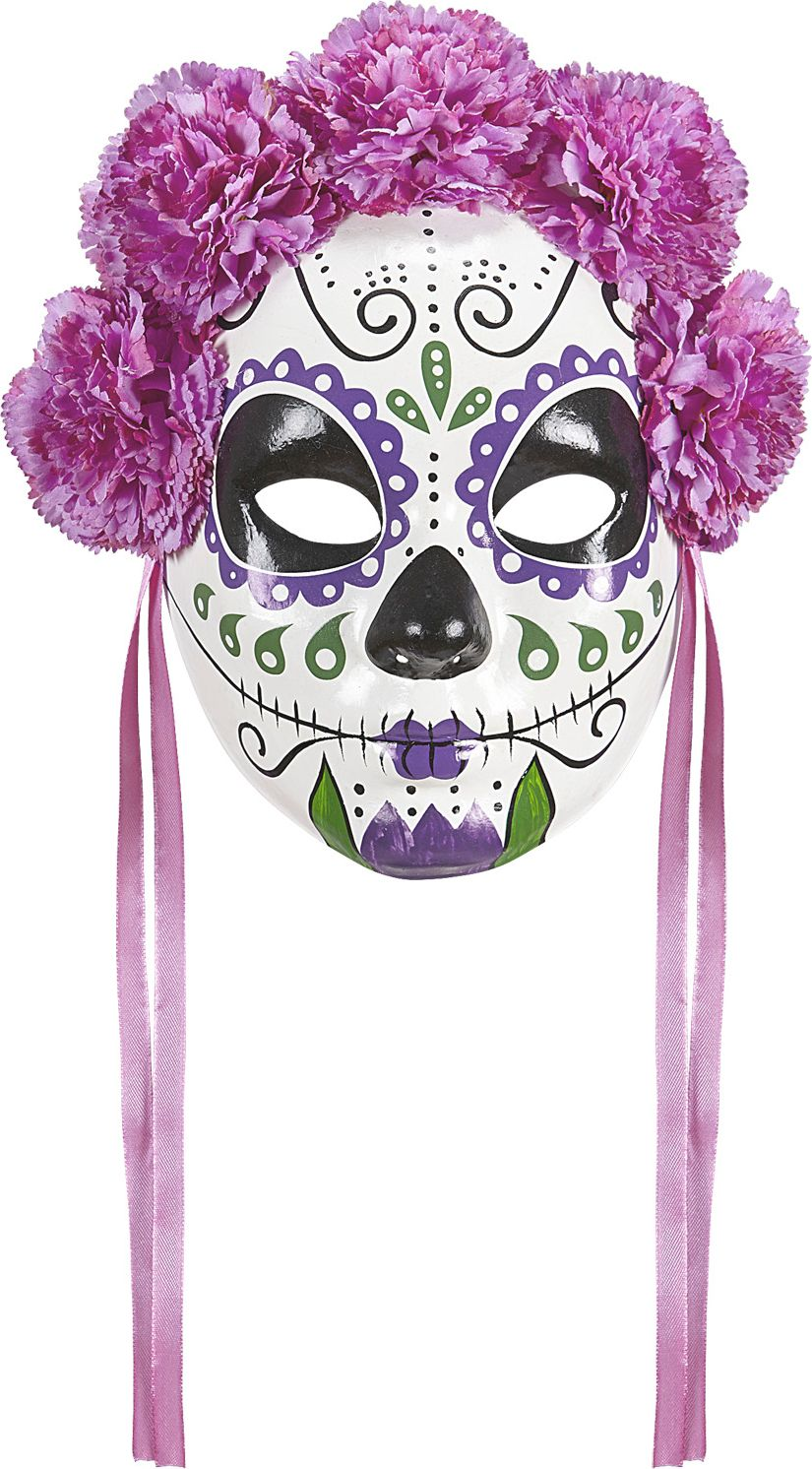 Day of the dead masker met paarse rozen