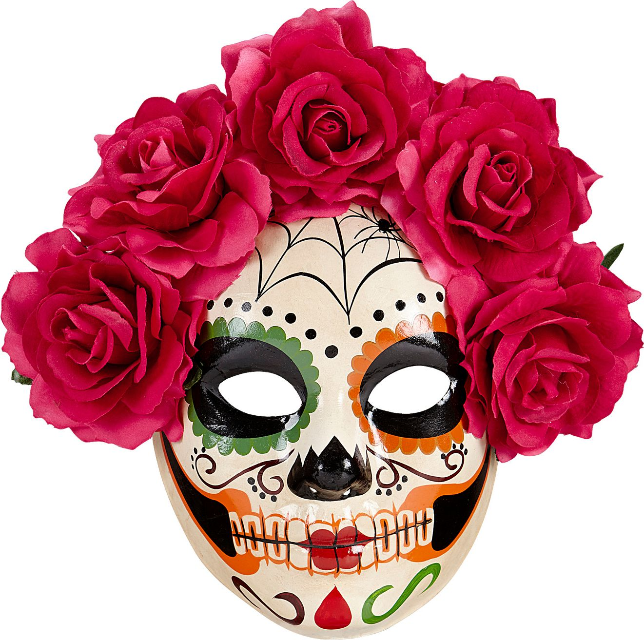 Day of the dead masker met rode rozen
