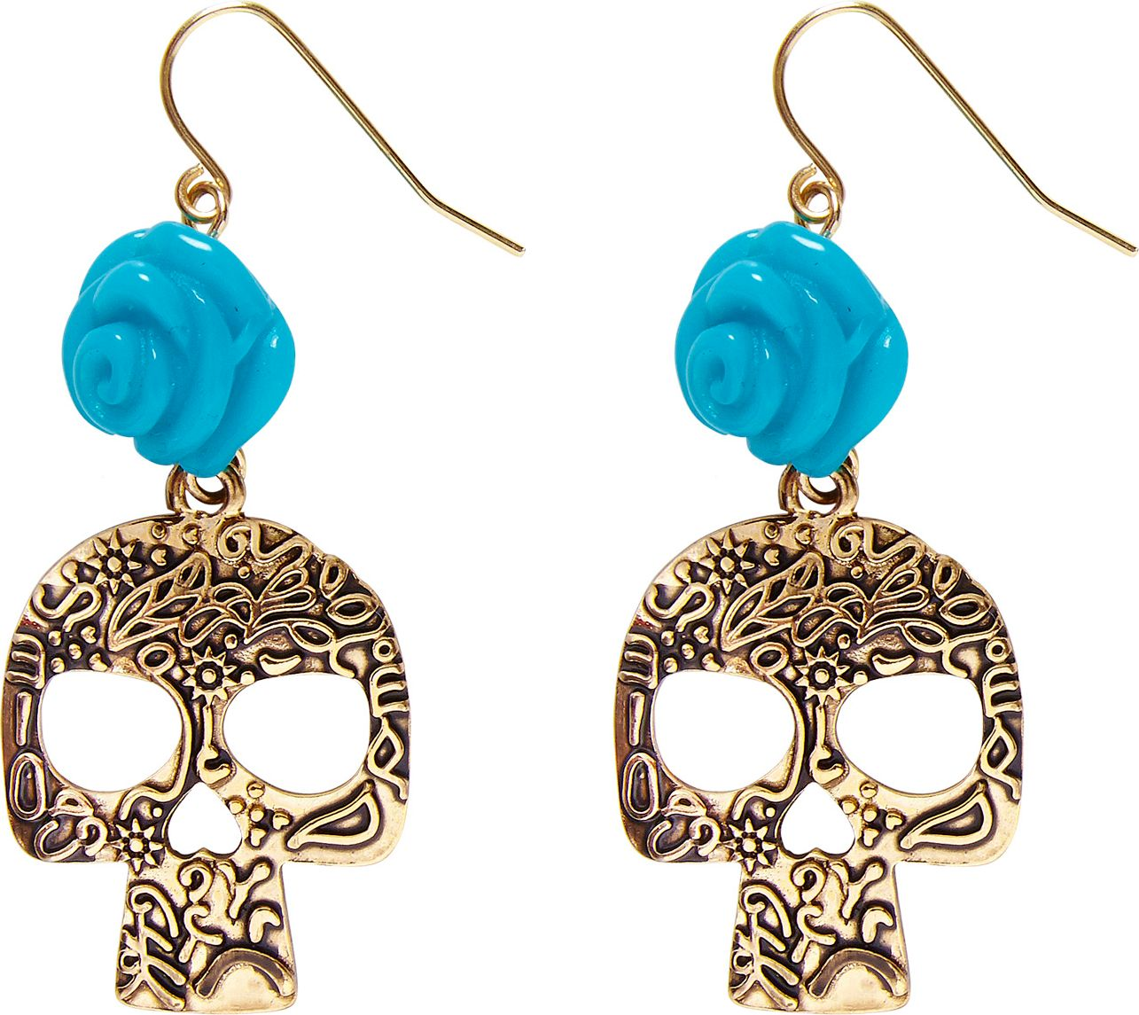 Day of the dead oorbellen blauw goud