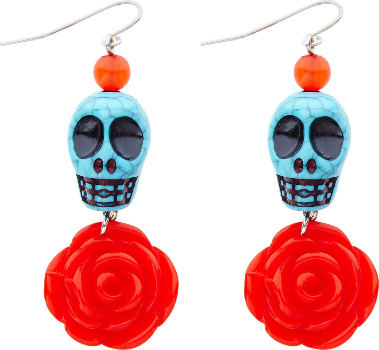 Day of the dead oorbellen rood blauw